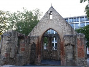 The 'Nicolaikapelle' (Nicolai Chapel) in Hannover stands in ruins, but look through its portal and see a surprising sign of hope show through.